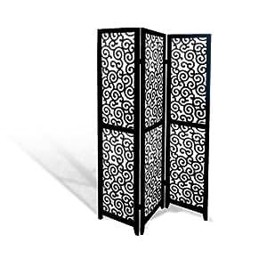 Black Wood Panel Screen Ornate Swirl Design Folding Room Divider