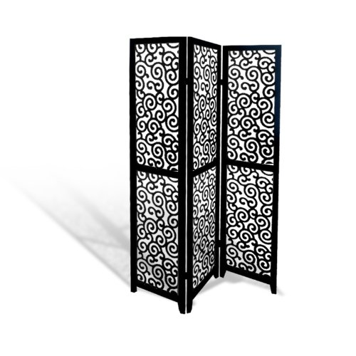 - The Furniture Cove Black Wood Panel Screen Ornate Swirl Design Folding Room Divider