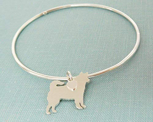 .925 Sterling Silver Siberian Husky Dog charm Bangle Bracelet Pet Memorial Jewelry
