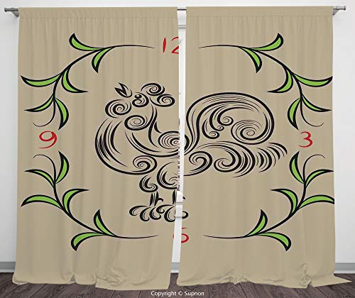 Neon Clock Raiders Oakland - Rod Pocket Curtain Panel Polyester Translucent Curtains for Bedroom Living Room Dorm Kitchen Cafe/2 Curtain Panels/108 x 84 Inch/Kitchen Decor,Rooster and Floral Art Decorative Clock Time Swirls Leave