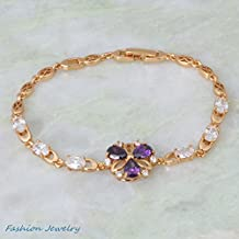 BMALL Amethyst Purple Cubic Zirconia 18K Yellow Gold Plated Bracelets Bangles Fashion 18.5Cm 7.28 Inch B314