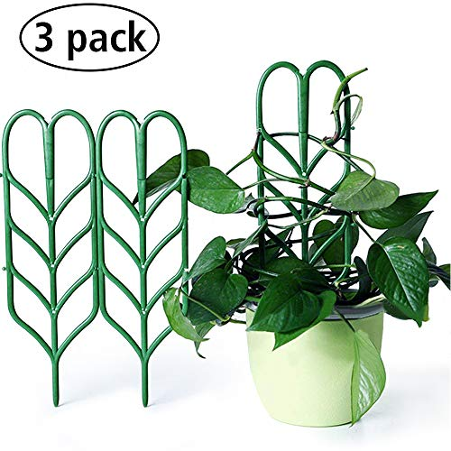 "Seway Garden Trellis, Plant Trellis DIY for Potted Plant Support, Leaf Shape Mini Climbing Plants Flower Vegetables Rose Vine Pea Ivy Cucumbers Pots Support, 4 16"" (3 Pack)"