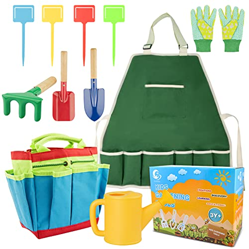 Nazano Kids Gardening Tools Set, Garden Toys with Gloves, Aprons, Kettles, Shovel, Ground Cards, Flower Basket Bags,Outdoor Indoor Toys Gift for Boys & Girls