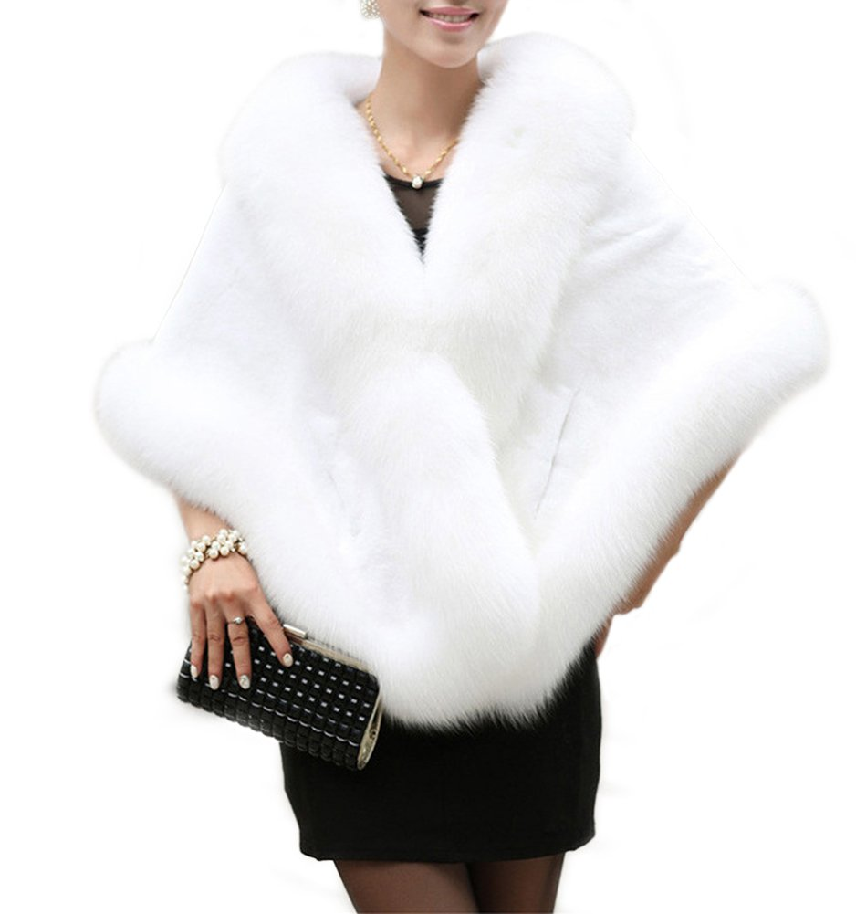 Amore Bridal Women's Luxury Faux Fur Shawl Wrap Stole Cape for Winter White