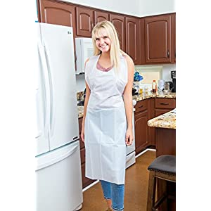 Green Direct Plastic Reusable/Disposable Heavy Duty Poly Aprons - woman by fridge