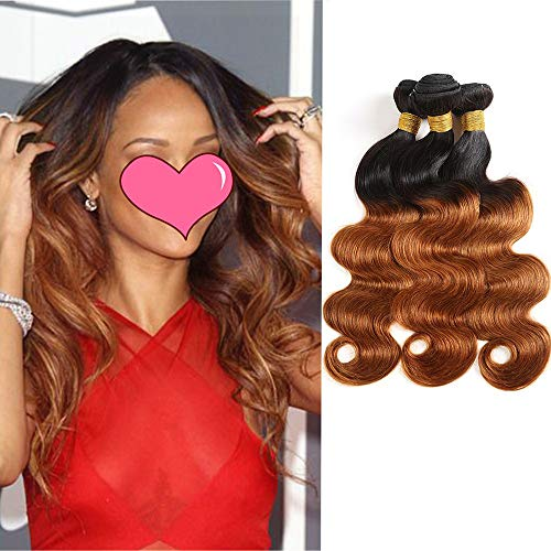 Feelgrace Hair 8A Brazilian Virgin Ombre Body Wave Hair 3 Bundles 1b/30 Color 100% Unprocessed Human Hair Extension Two Tone Body Wave Hair Weft(20 22 24)