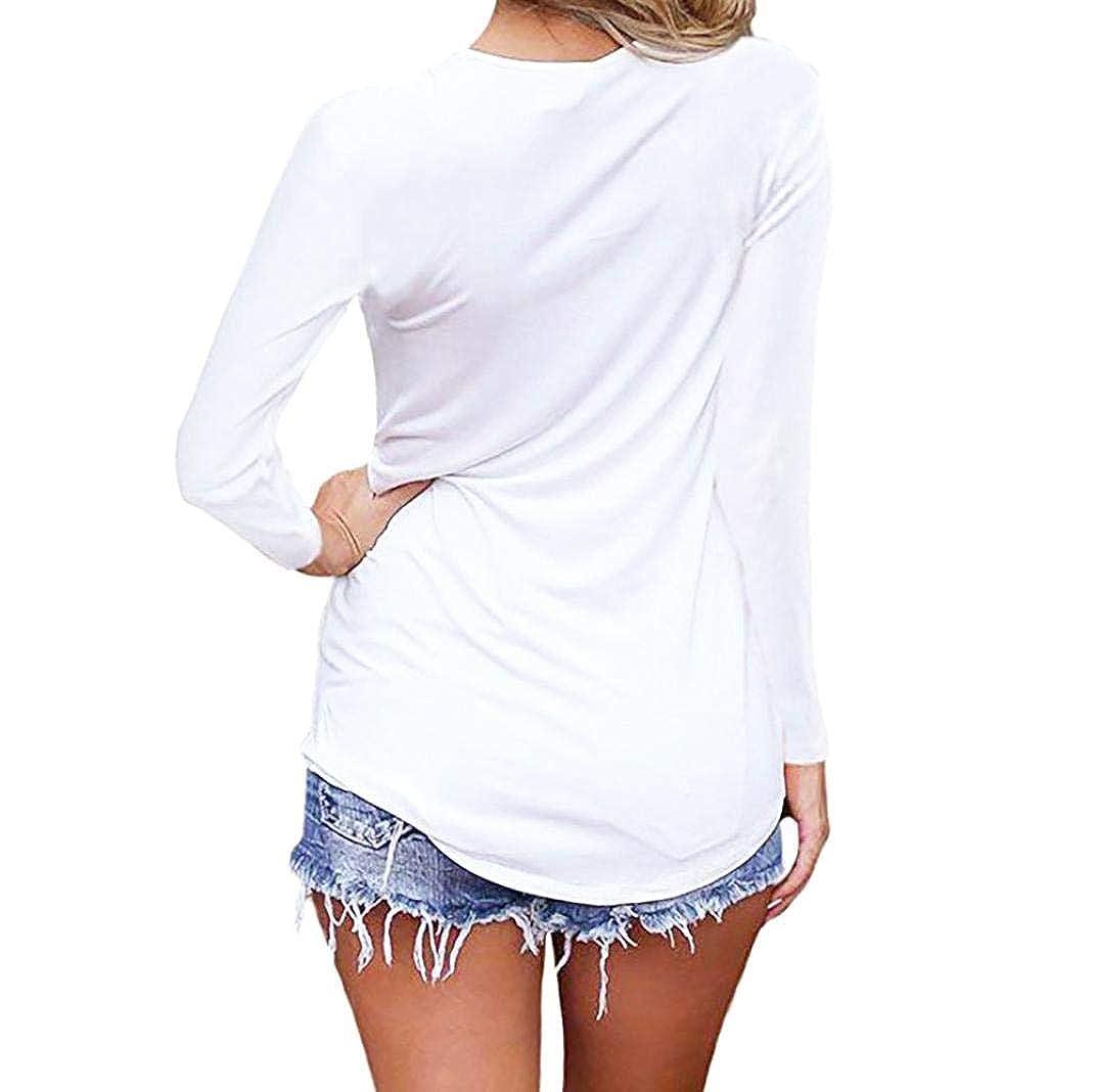 ❤ Camisa Mujer Larga Vendaje Corto Criss Cross, Manga Larga Casual con Cuello en V de Encaje Cami Tank Tops Absolute: Amazon.es: Ropa y accesorios