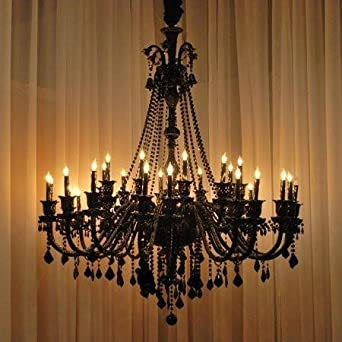 New Large Foyer Entryway JET Black Gothic Crystal Chandelier Chandeliers Lighting 52×46 30 Lights