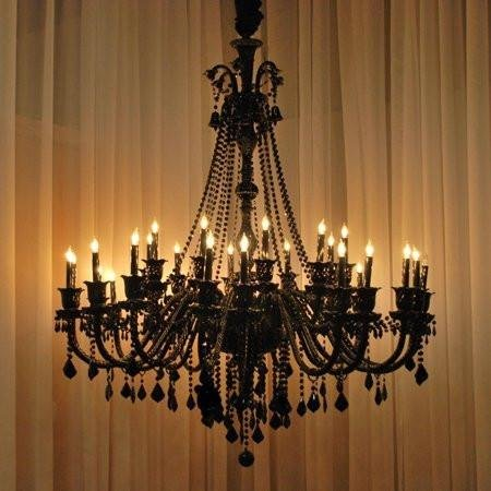 New! Large Foyer/Entryway JET Black Gothic Crystal Chandelier Chandeliers Lighting 52x46 30 Lights