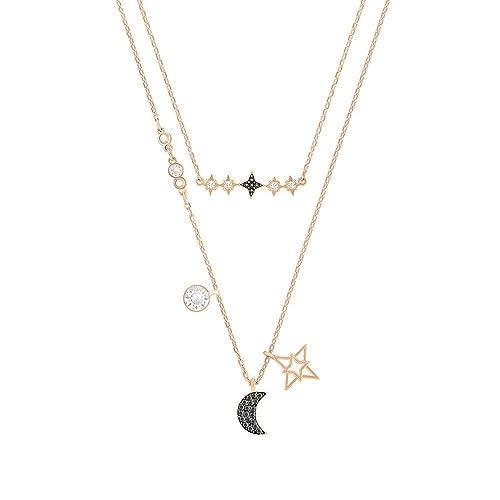 d862fcdc89a61 Swarovski Jewelry Glowing Moon Necklace, Black