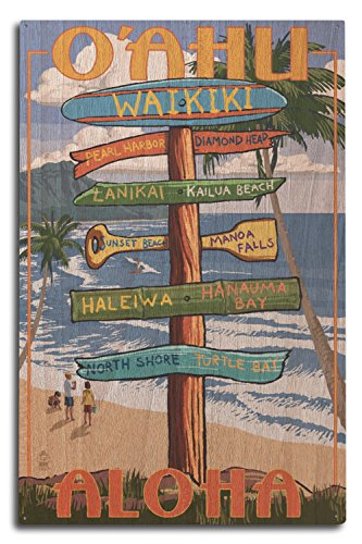 Lantern Press Waikiki, Oahu, Hawaii - Aloha - Sign Destinations (10x15 Wood Wall Sign, Wall Decor Ready to Hang)