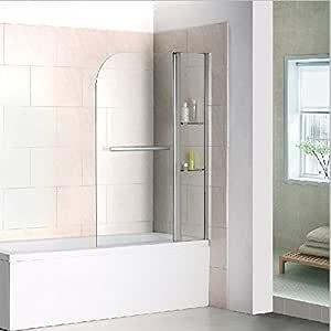 Mamparas de Bañera Abatible con Estantes Repisa de Cristal y Toallero (Abatible de Perfil) 120x140cm: Amazon.es: Bricolaje y herramientas