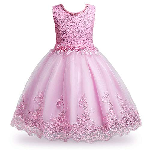 MOREMOO Flower Girls Lace Sequin Embroidered Wedding Party Dress(Pink 7)