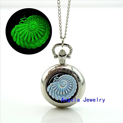 Pretty Lee Fashion Teal Nautilus Glowing Pocket Watch Necklace Fractal Jewelry Glass Watch Glow in the - Glowing Shades Shutter