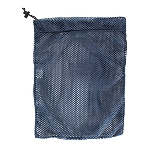 SGT KNOTS Mesh Bag (Medium) 550 Paracord Drawstring Bag - Ventilated Washable Reusable Stuff Sack for Laundry, Gym Clothes, Swimming, Camping, Diving, Travel (18 inch x 30 inch - Navy Blue) by SGT KNOTS