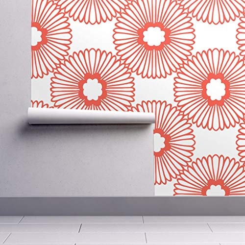 Peel-and-Stick Removable Wallpaper - Nature Vintage Flower Floral Graphic Orange Red by Elephantandrose - 24in x 60in Woven Textured Peel-and-Stick Removable Wallpaper ()