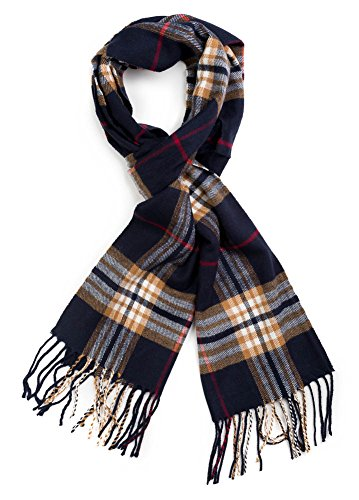- Plum Feathers Super Soft Luxurious Cashmere Feel Winter Scarf (Navy-Camel Plaid)