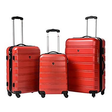 Merax Travelhouse Luggage 3 Piece Expandable Spinner Set Red