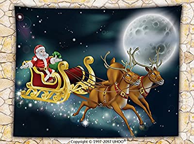 Christmas Decorations Fleece Throw Blanket Santa with Reindeer in Sledge Flying Dark Magical Starry Night with Full Moon Fantasy Throw