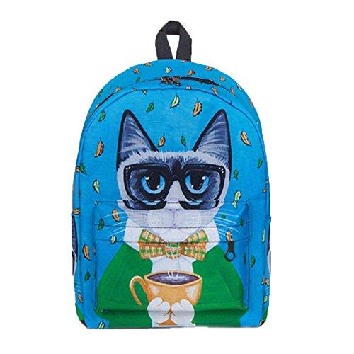 Girls Women Cute Casual Girl Bag Backpack Backpacks Print Shoulder Shoulder School Backpack Animal School Canvas Funny Women Bag Cats Rucksack Cat Zipper Blue Wnqf4AnPX