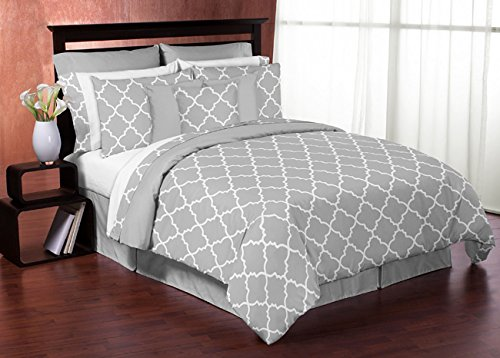 Sweet Jojo Designs 3-Piece Fits Most Basket Liners for Gray and White Trellis Bedding Sets