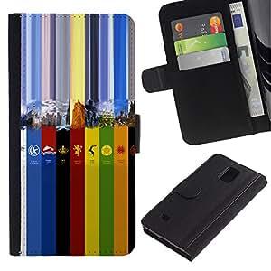 Protector de cuero de la PU de la cubierta del estilo de la carpeta del tirón BY RAYDREAMMM - Samsung Galaxy Note 4 IV - Colores GOT