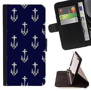 - Anchor Boat Pattern - - Monedero PU titular de la tarjeta de cr?dito de cuero cubierta de la caja de la bolsa FOR Samsung Galaxy S5 V SM-G900 Retro Candy