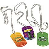 Lot Of 12 Assorted Metal Super Hero Comic Book Theme Dog Tags