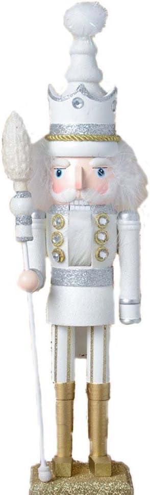 ZaH 18 Inch Wooden Nutcracker Ornaments Christmas Decorations Holiday Decor Kids Toys Nutcracker Puppets, White King