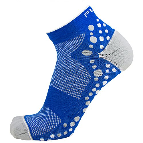 Pure Athlete Ultra-Comfortable Running Socks - Anti-Blister Dot Technology, Moisture Wicking (Blue/White, L/XL)