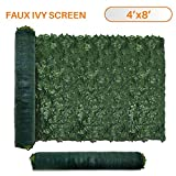 TANG Sunshades Depot 4' FT x 8' FT Artificial Faux Ivy Privacy Fence Screen Leaf Vine Decoration Panel with 130 GSM Mesh Back