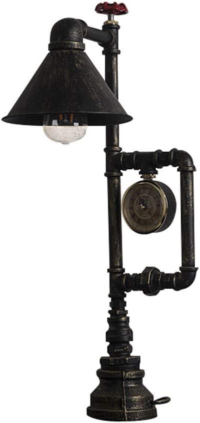 Lámpara de mesa vintage con reloj antiguo de puntero, tubos de ...