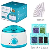 Wax Warmer, Wax Hair Removal Kit +5 bags of Hard Wax Beans + 10 Wax Applicator Sticks (wax warmer+5 bags wax beans)