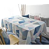 Rectangle Polyester Cotton Tablecloth, Yanyi Water Resistance Simple Style Wipe Clean No Wrinkles Dining Table Cloth for Home Hotel Cafe Restaurant, Heat and Moisture Resistance Multi-purpose Indoor and Outdoor Table Covers (55 x 87 inches / 140 x 220 cm)