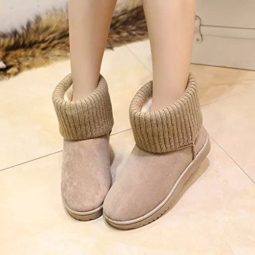 Gaorui women classic suede snow boots fur lined ankle boots winter flat warm boots Grey zPhLihRyj
