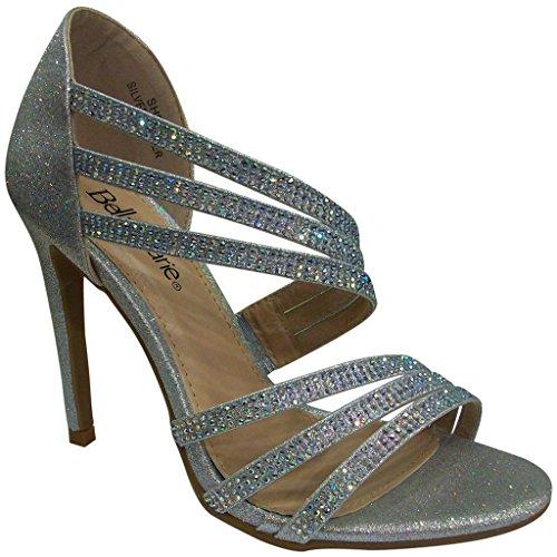 Bella Marie Donna Shoo1 Sandali Open Toe In Strass Glitterati Argento