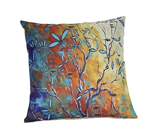 (Crazy Cart Oil Painting Colorful Tree Cotton Linen Cushion Case Pillow Covers)
