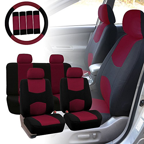 FH GROUP Stylish Cloth Full Set Car Seat Covers Combo-FH2033 Steering Wheel & Seat Belt Pads, Burgundy / Black Color- Fit Most Car, Truck, Suv, or (Steering Wheel Seat)