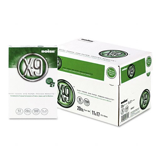 Boise : X-9 Copy/Laser Paper, 92 Brightness, 20lb, 11 x 17, White, 2,500 Sheets -:- Sold as 2 Packs of - 5 - / - Total of 10 Each by Boise