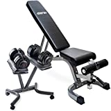 Merax Home Gym Deluxe Adjustable Dial Dumbbell & Foldable Utility Weight Bench Set (with Dumbell Stand)