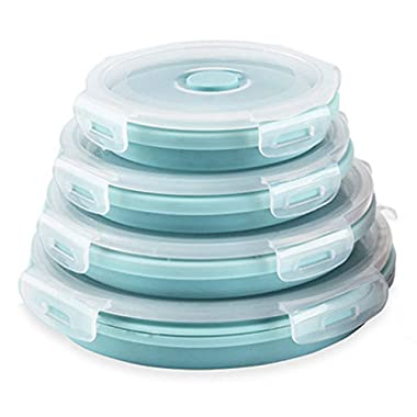 Silicone Collapsible Food Storage Containers-Prep/Storage Bowls with Lids – Set of 4 Round Silicone Lunch Containers– BPA Free, Microwave and Freezer Safe (Blue)