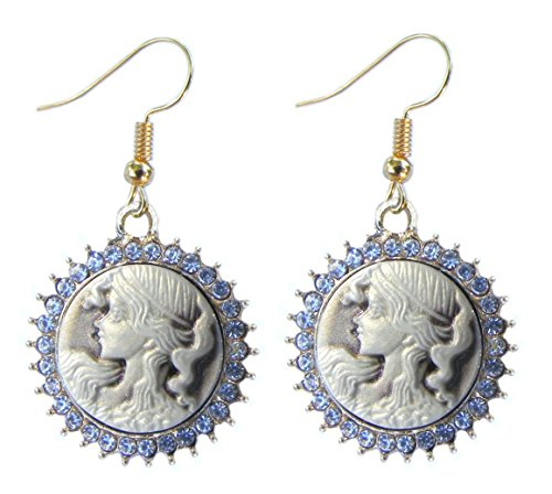 Cameo with Clear Rhinestones Goldtone Earrings (Pierced)