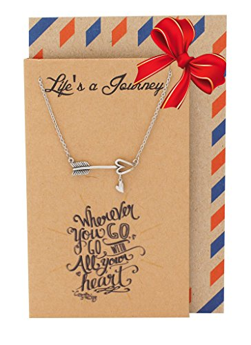 Quan Jewelry Graduation Gifts, Arrow Necklace and Inspirational Quote on Greeting Card