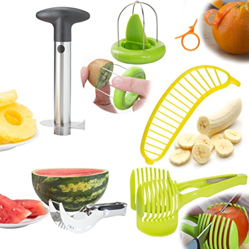 Fruit Slicer Peeler Set Of 6 - Stainless Steel Pineapple Corer, Watermelon Slicer, Plastic Orange Peeler, Banana, Tomato, Kiwi Slicer & Avocado Knife - Handheld Kitchen Tools