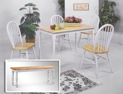 6 Piece Dining Set 4 Chairs Table Bench Natural White Farm