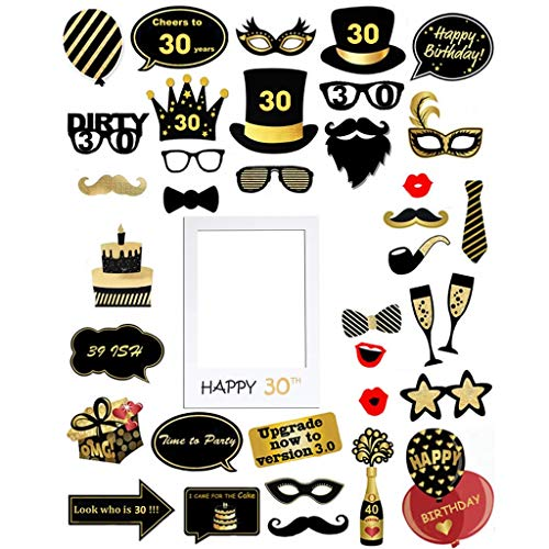 Kicpot 39pcs 30th Brithday Photo Booth Props and Creative Photo Frame Decorations 39pcs 30th Brithday Photo Booth Props and Creative Photo Frame Decorations Easy Assemble Selfie Props Kit for Brithday 30th Birthday Photo Frames