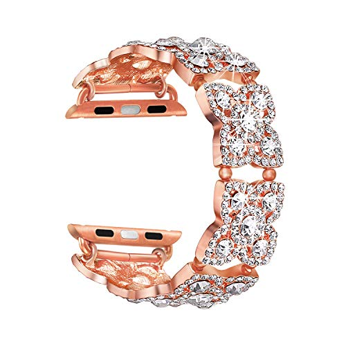 SOAOS Compatible with Apple Watch Band 40mm 38mm 44mm 42mm Series 4 3 2 1 iWatch Bands Women, Crystal Diamond Cuff Bracelet Replacement Strap, Fashion Jewelry Wristbands (Rose Gold 40mm 38mm, Small)