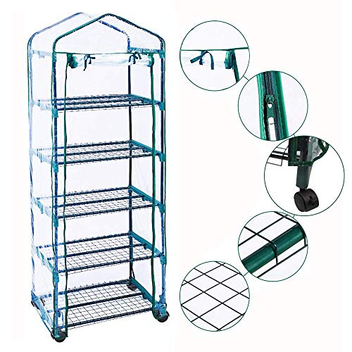Homes Garden Updated Portable 5-Tier Mini Greenhouse with Removable Wheels Clear PVC Cover Indoor and Outdoor Greenhouse Double Zipper Roll Up Front 27 in. L x 19 in. W x 76 in. H #G-G304A01