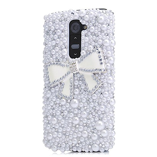 Sense-TE STENES LG V10 Case, Luxurious Crystal 3D Handmade Sparkle Diamond Rhinestone Cover with Retro Bowknot Anti Dust Plug - Bowknot/White