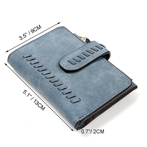 IFUNLE Womens RFID Blocking Soft PU Matte Leather Bifold Short Wallet Large Capacity Card Holder Key Cash Zipper Coin Pocket Buckle Ladies Travel Purse (#2 Coffee) by IFUNLE (Image #2)